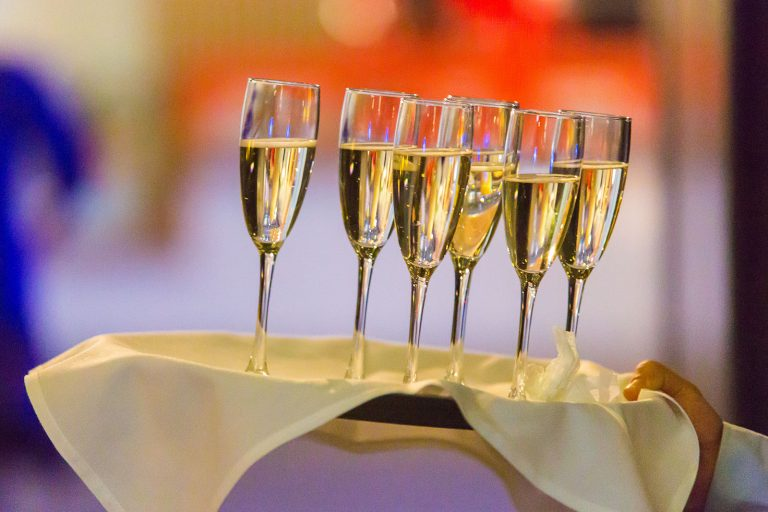 corporate event champagne glasses