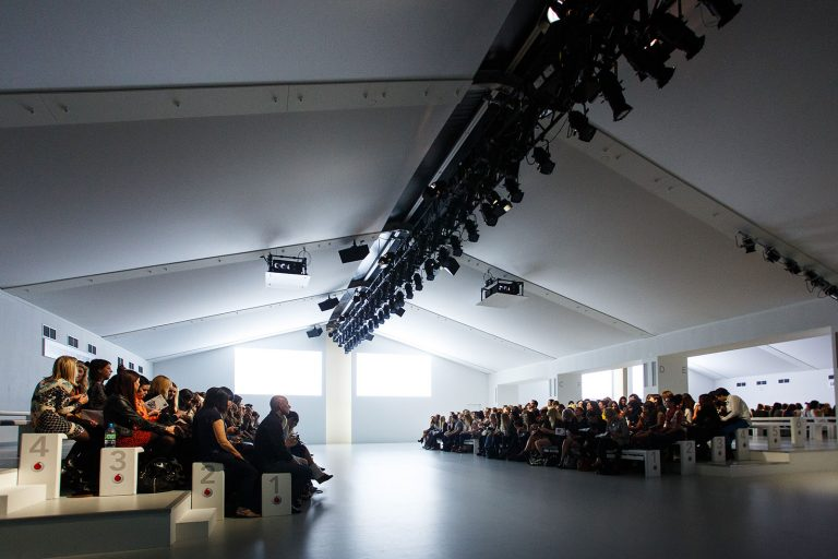 London Fashion Week catwalk audience waiting for show