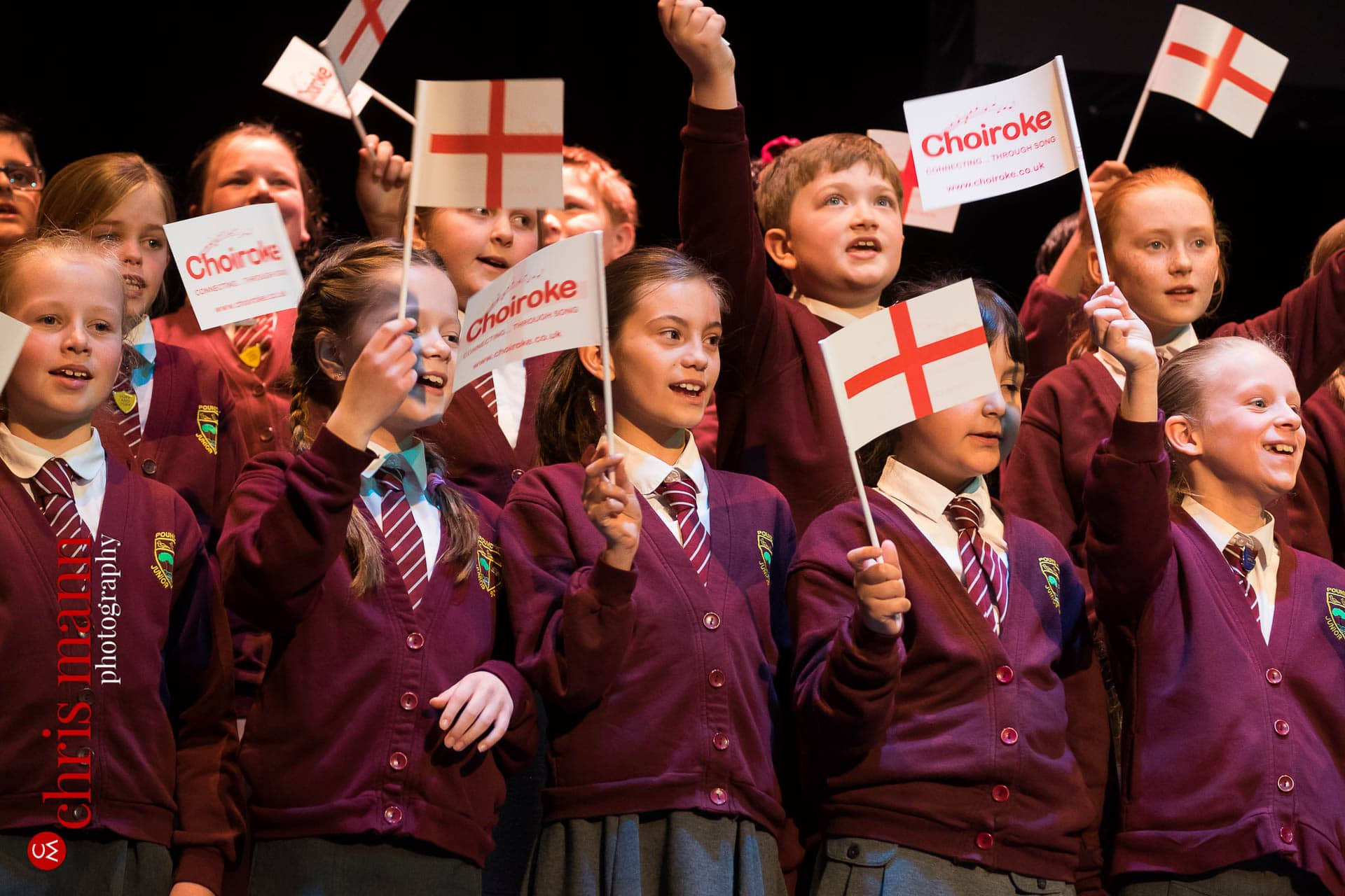 children sing Land of Hope and Glory at Choiroke 2016 concert Dorking Halls