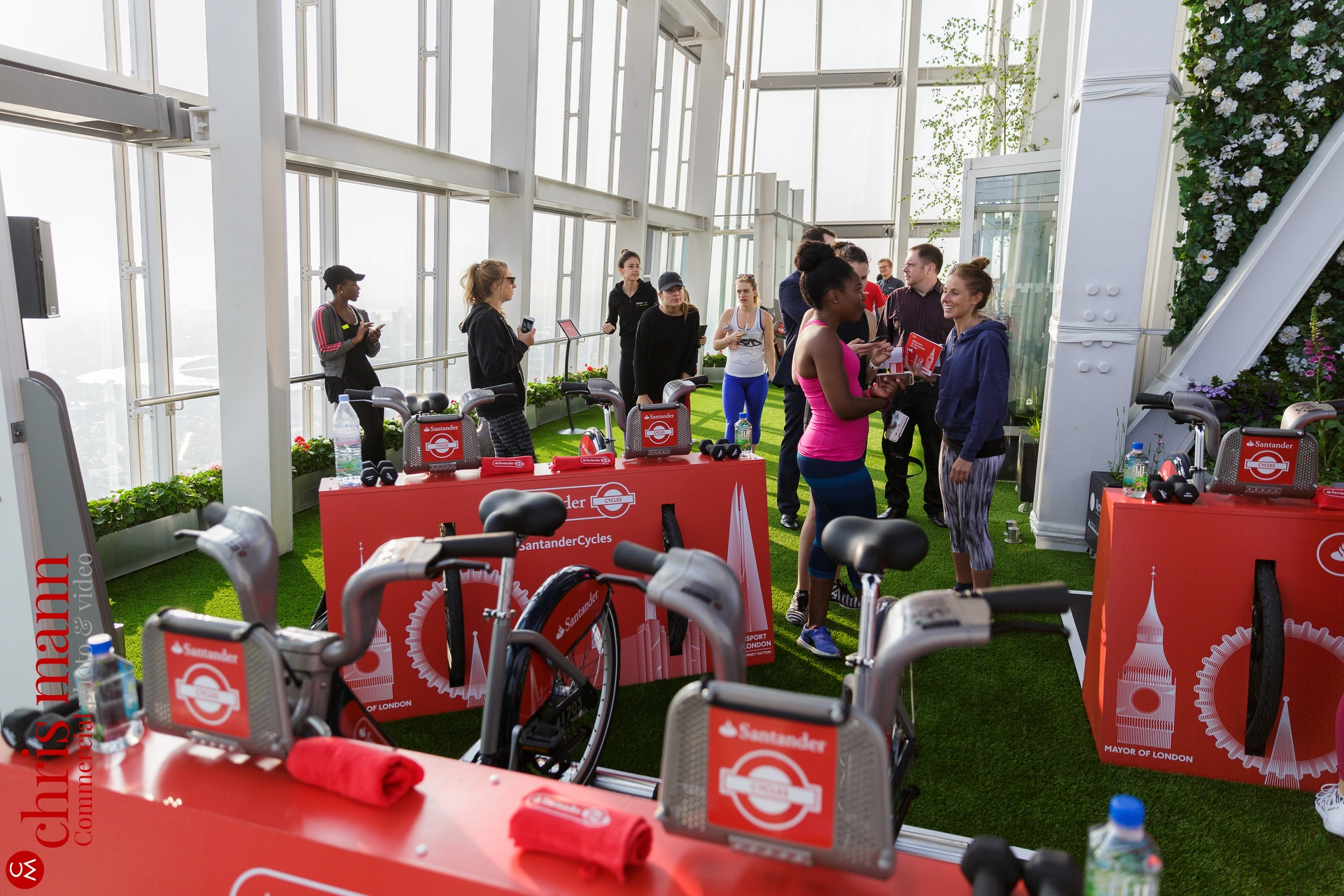 bloggers and press gather for Santander Cycles spin-up class at The Shard London