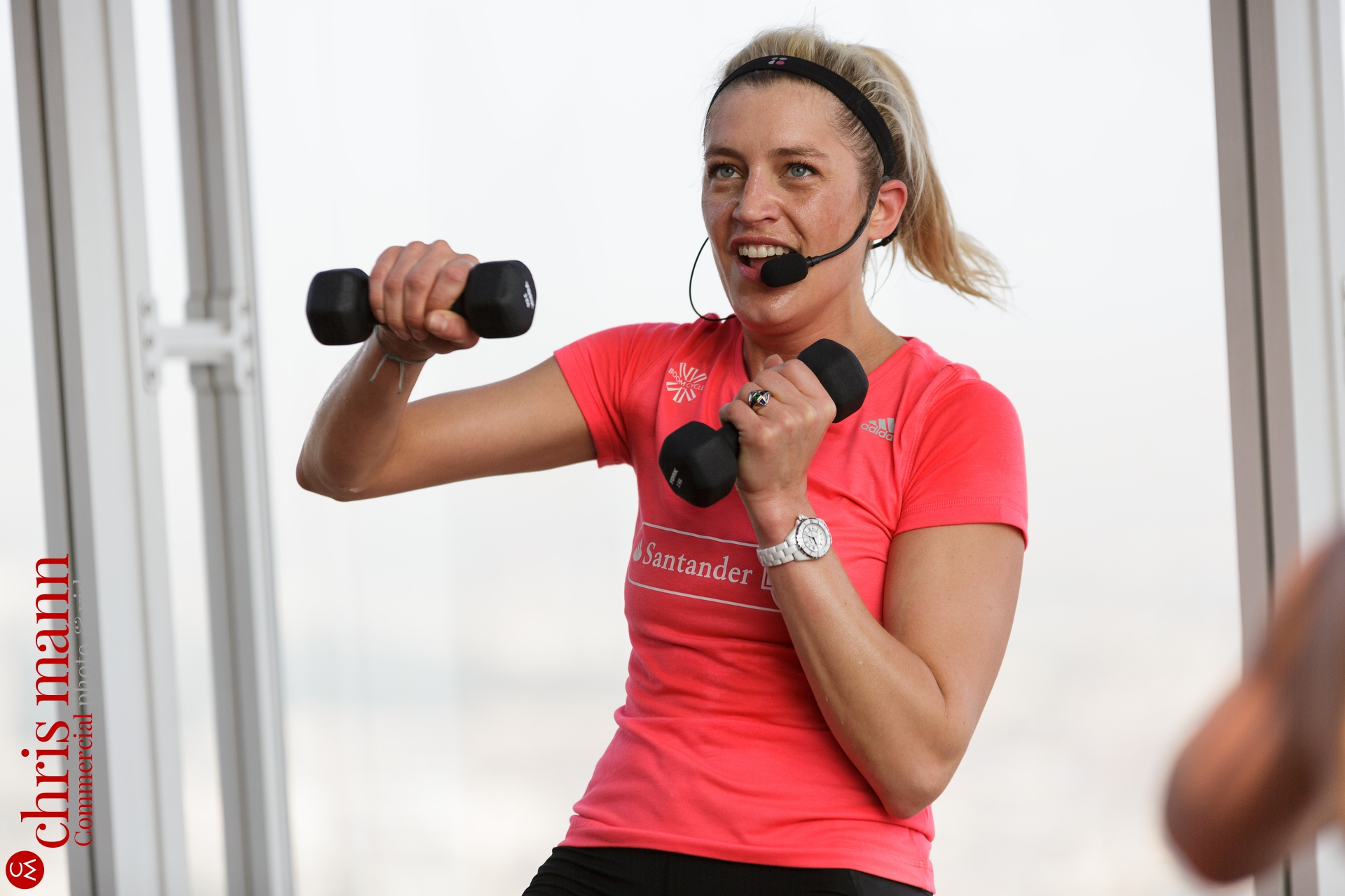 fitness instructor at Santander Cycles spinning class The Shard London June 2016