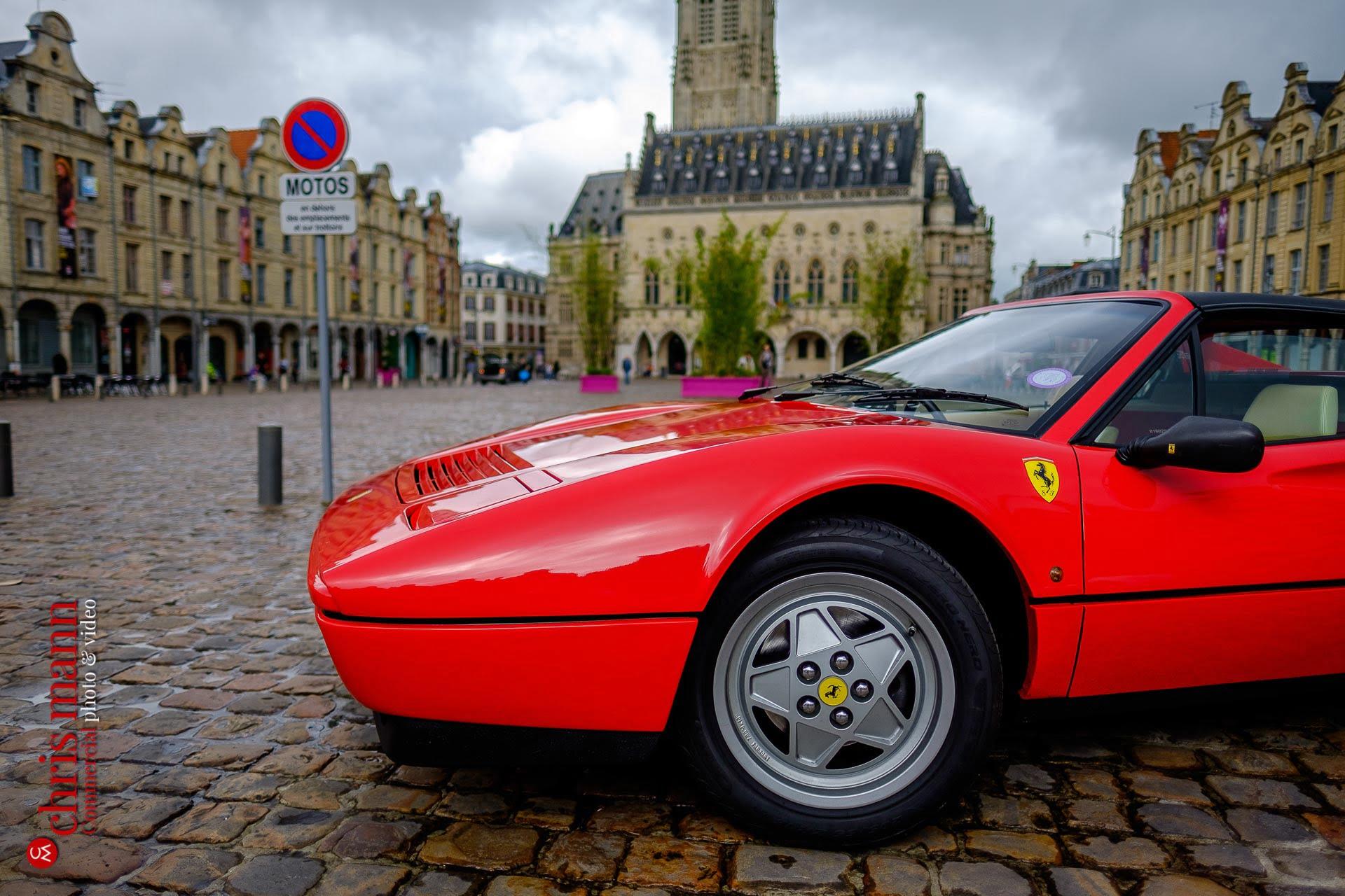 Ferrari Champagne Road-trip to Reims - 328 GTS Targa Place des Héros Arras France