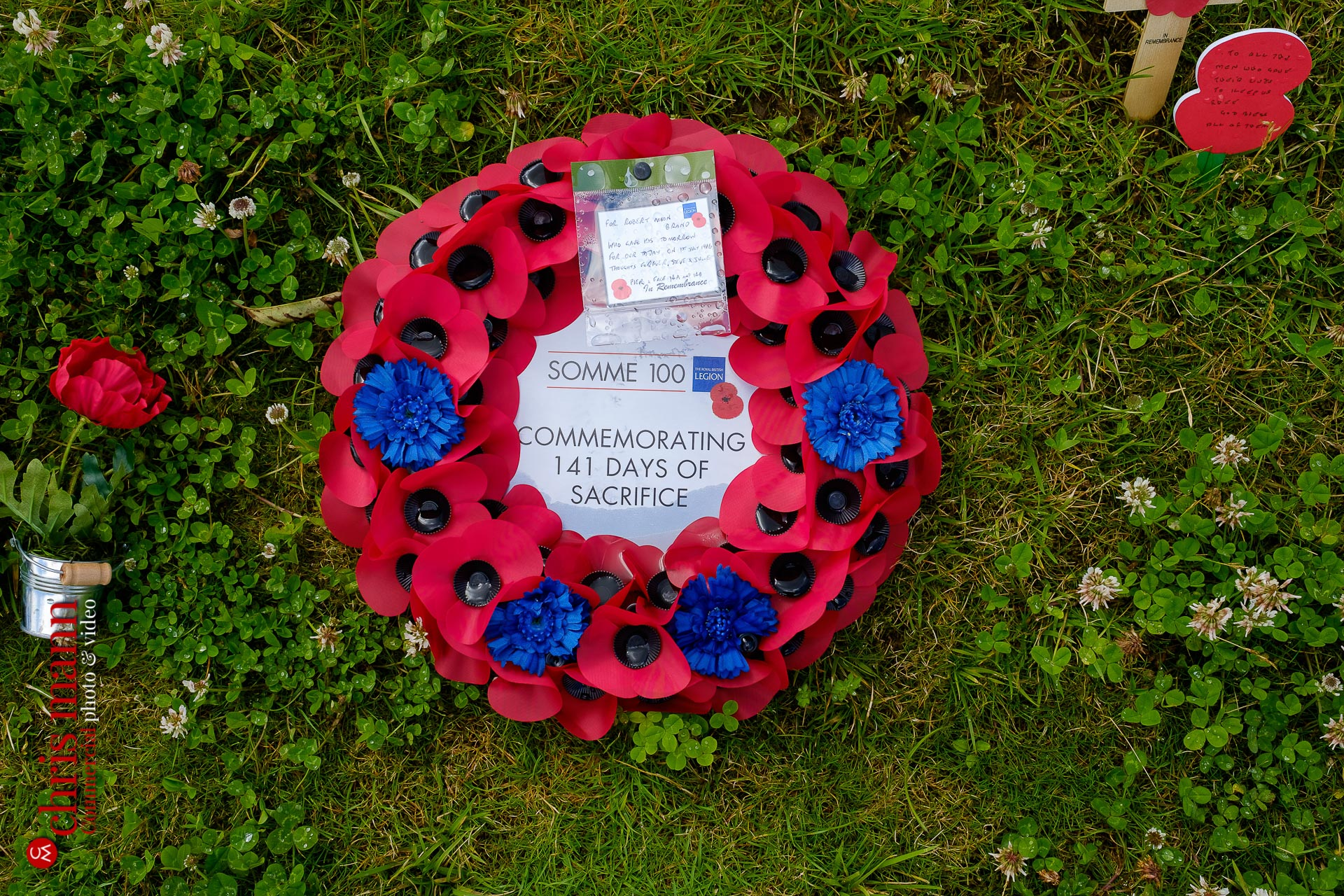 remembrance wreath of poppies at Thiepval Battle of the Somme 100th Anniversary