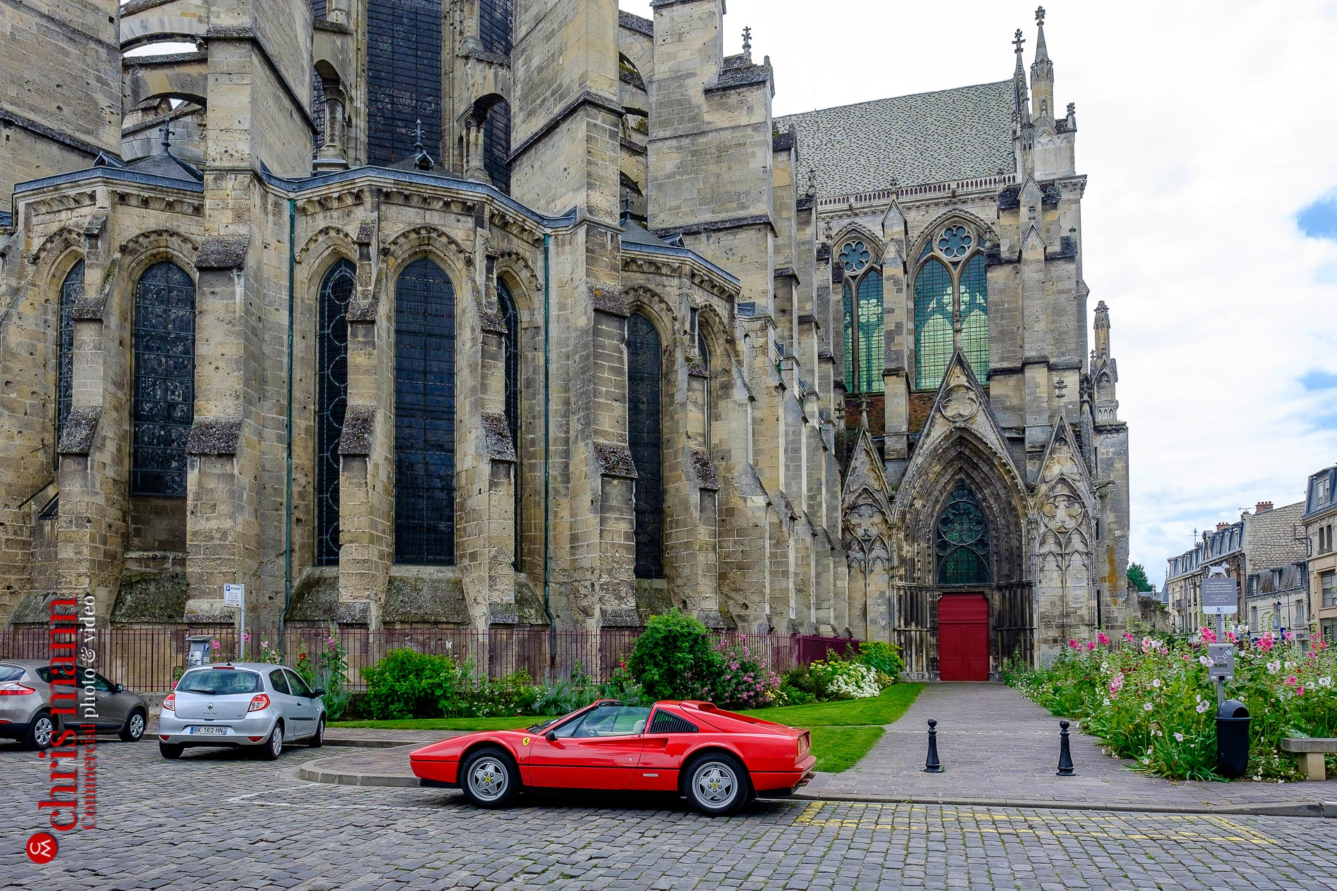 Ferrari 328 GTS Targa at Soissons Cathedral Picardy France