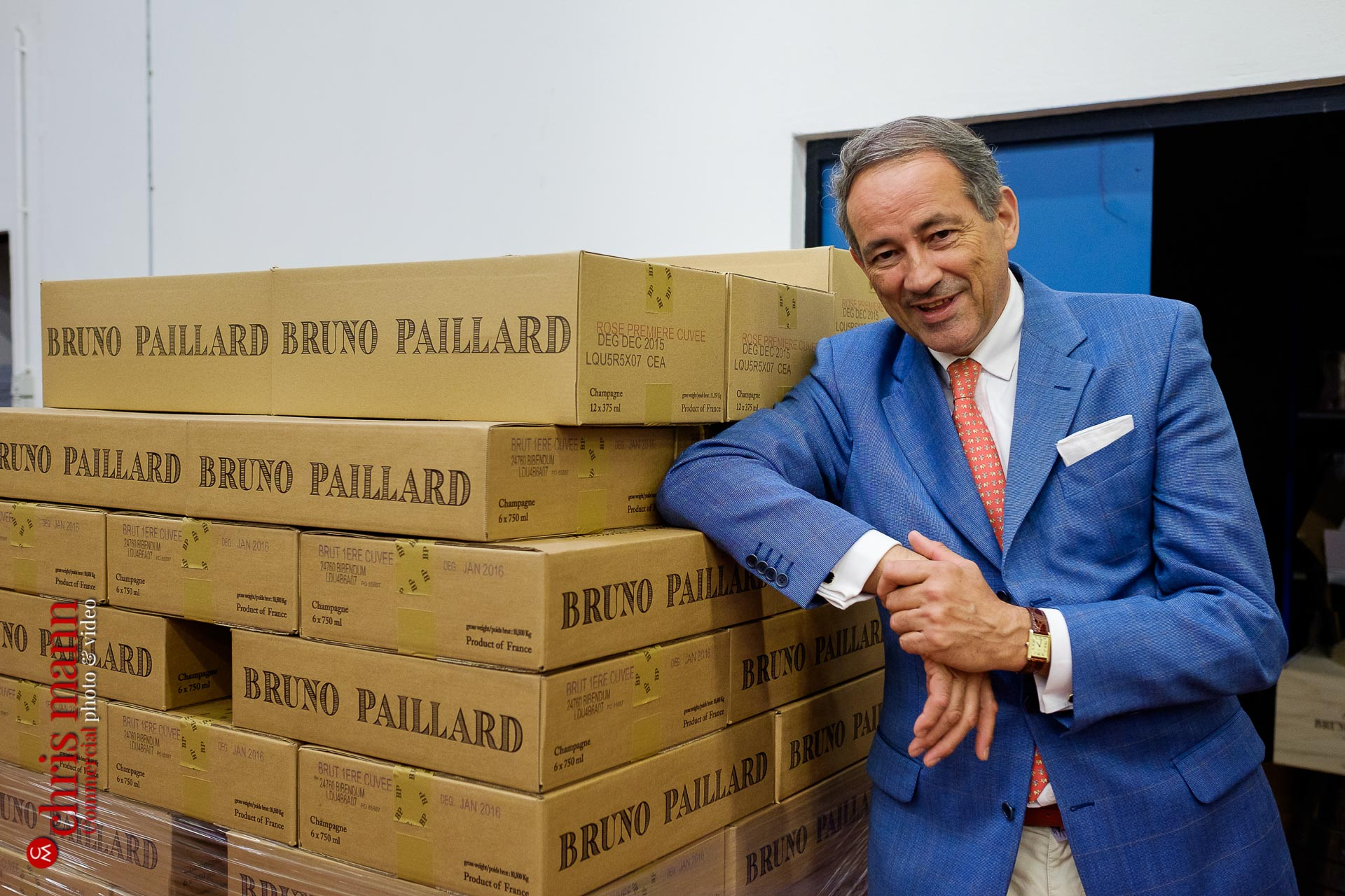 Bruno Paillard with cases of his champagne Reims Picardy France