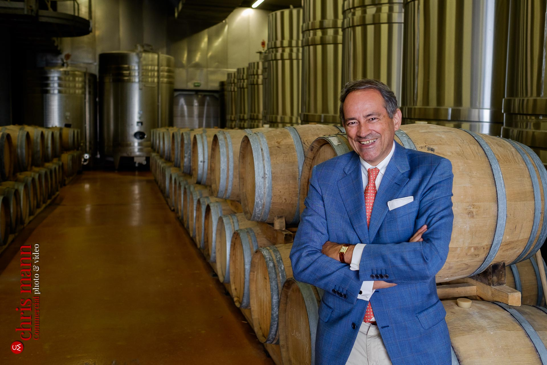 Bruno Paillard with barrels of champagne Reims Picardy France
