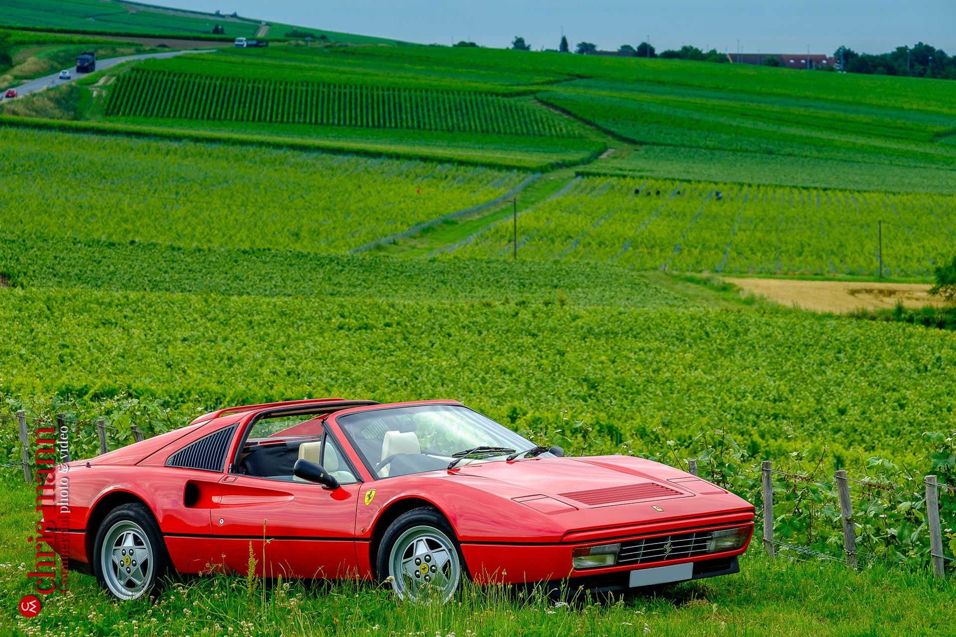 Ferrari 328 GTS Targa in Champagne vineyards near Reims Picardy France