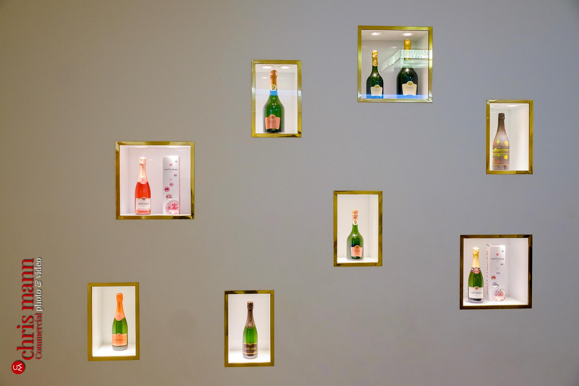 Display of Taittinger champagne bottles