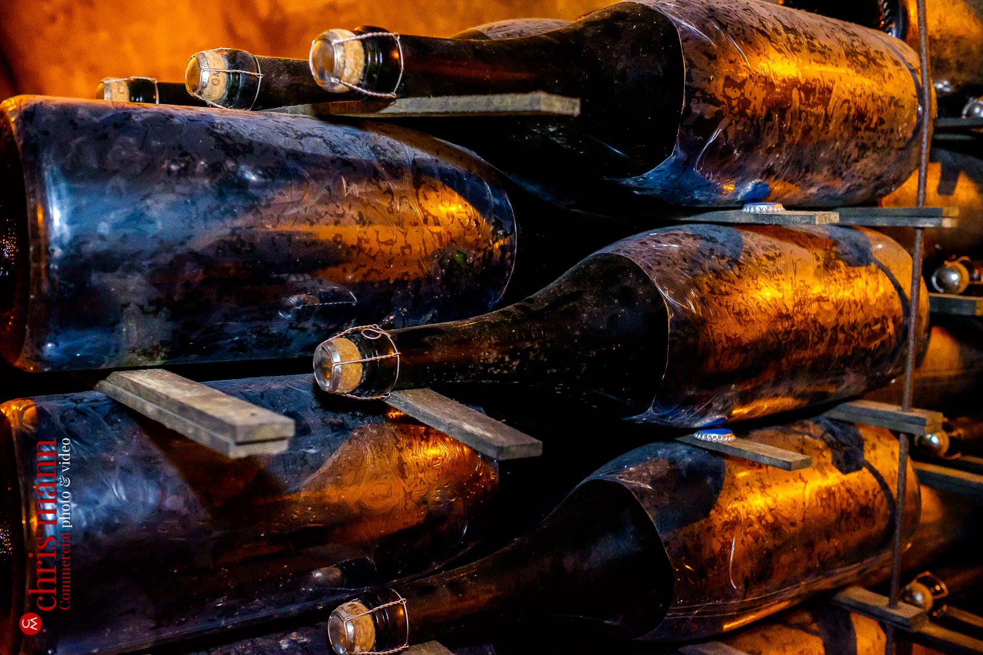 Taittinger champagne bottles close-up