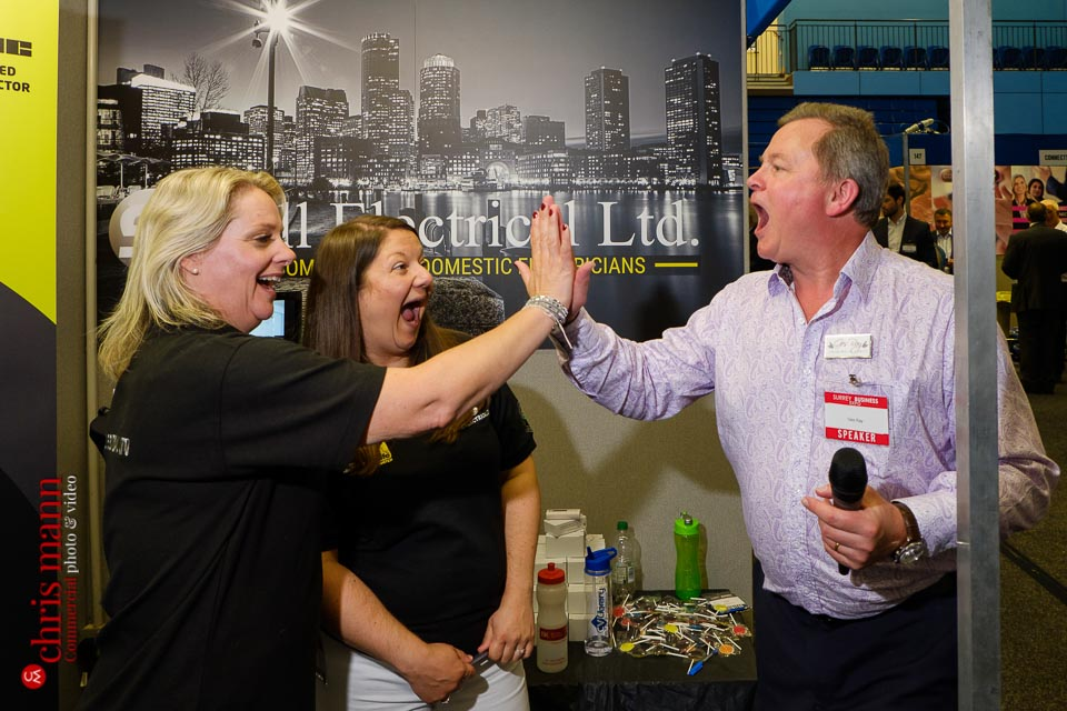 Abbie Sell (left) - Sell Electrical, & Ges Ray - Speaking in Public - Surrey Business Expo 2018 photos