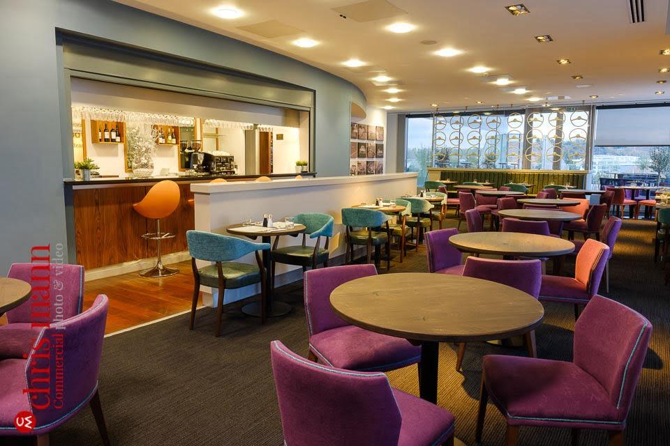 Mercedes Benz World restaurant relaunch - interior view showing bar
