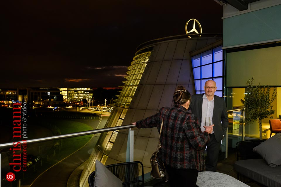 Mercedes Benz World EQ restaurant balcony terrace at night