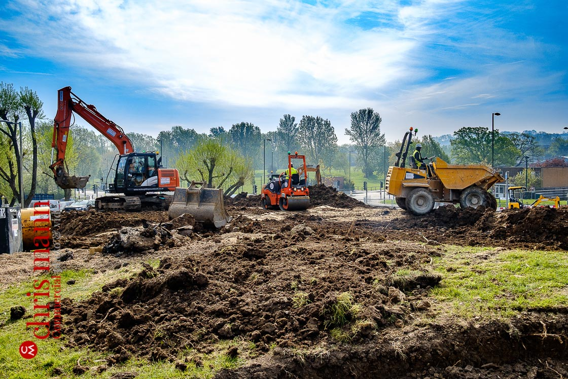 Royal Surrey Hospital ward construction - progress on removing turf and topsoil and levelling the site