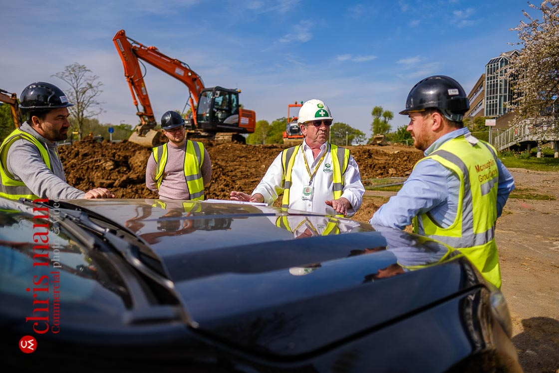 Elite Systems GB team and contractors discuss the Royal Surrey Hospital ward construction project