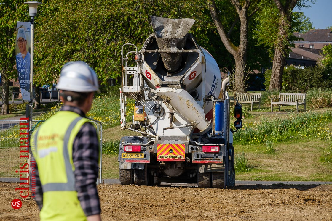 A concrete mixer truck arrives at the Royal Surrey Hospital site bringing concrete to pour for the foudnations of the new isolation ward