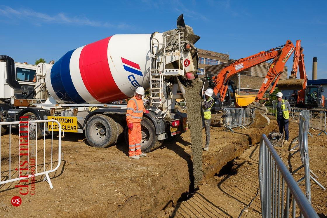 Royal Surrey Hospital ward construction - pouring the concrete foundations