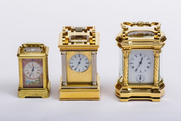 restored antique clocks close-up product photo