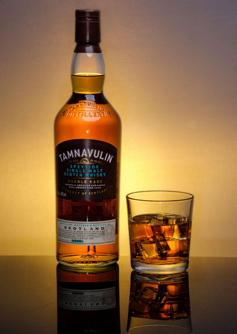 Tamnavulin wisky bottle - product promotional image by Chris Mann Photography